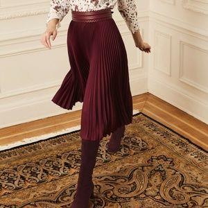 NEW YORK & COMPANY Burgundy Pleated Midi Skirt XL